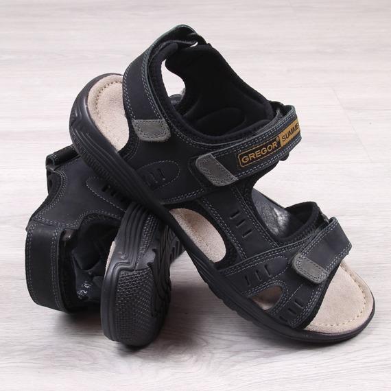 Skórzane sandały męskie czarne na rzepy Gregor 1192