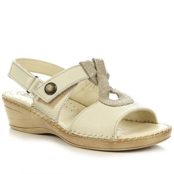Skórzane sandały na rzepy ecru Helios 206