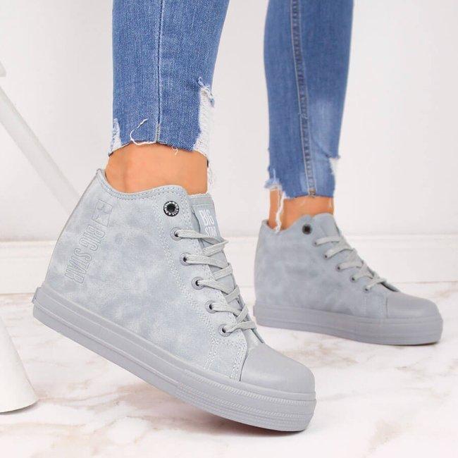 Sneakersy damskie na koturnie niebieskie Big Star II274094