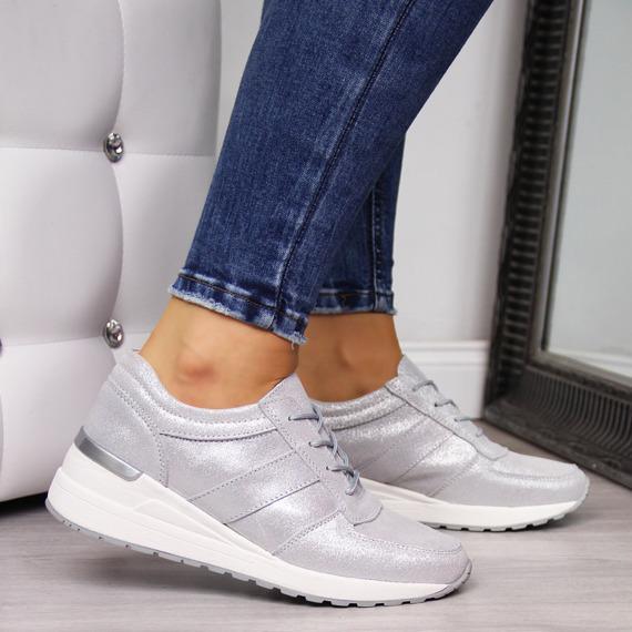 Sneakersy skórzane na koturnie srebrne Vinceza