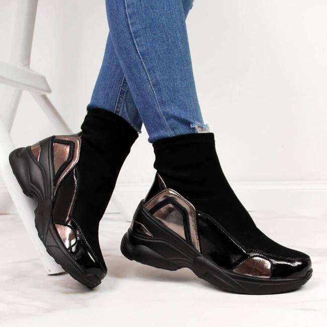Sneakersy damskie skarpety na koturnie czarne T.Sokolski