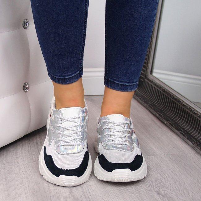 Sneakersy damskie skórzane na grubej podeszwie białe Filippo