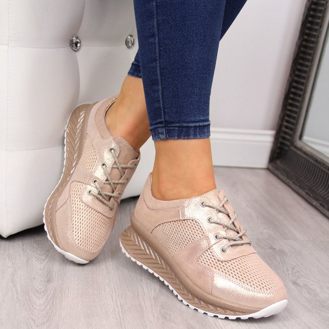 Sneakersy damskie skórzane z połyskiem różowe T.Sokolski
