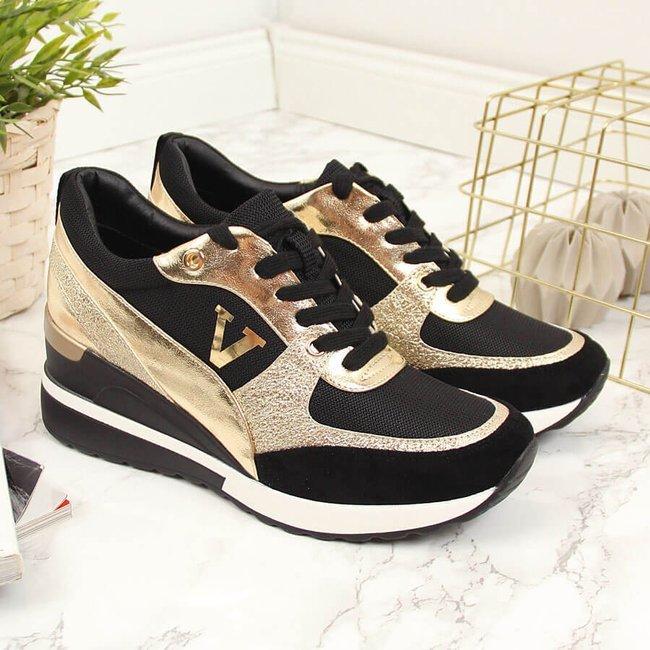 Sneakersy na koturnie czarno złote Vinceza