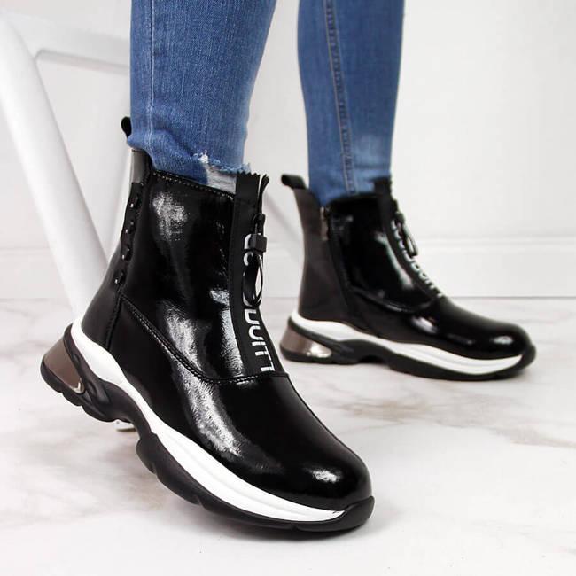 Sneakersy skórzane damskie lakierowane czarne T.Sokolski