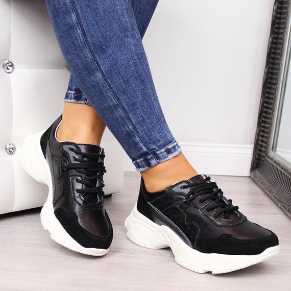 Sneakersy skórzane na platformie czarne Vinceza
