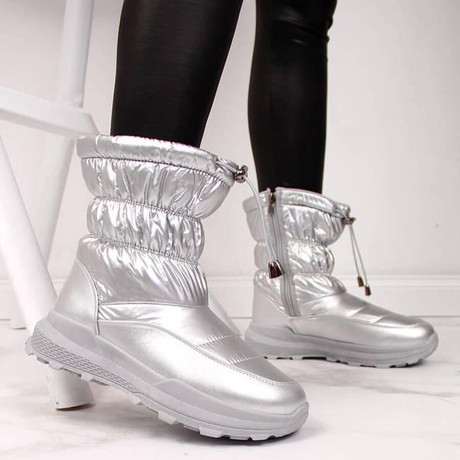 Śniegowce damskie metaliczne srebrne NEWS