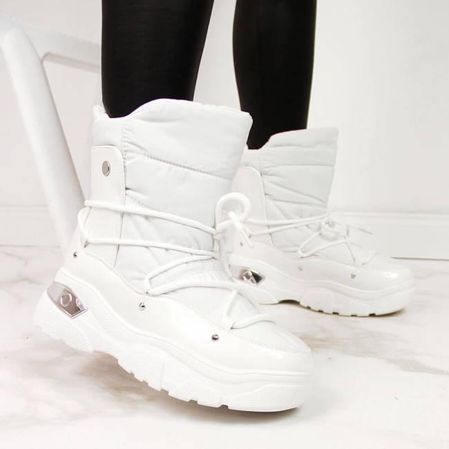 Śniegowce damskie ocieplane białe Potocki