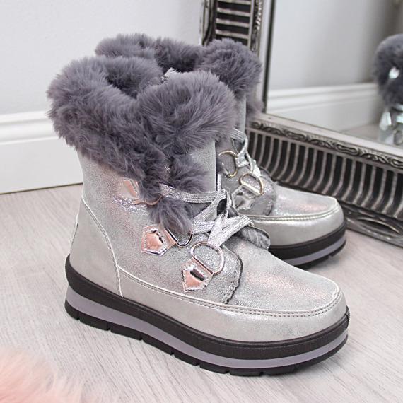 Śniegowce dziewczęce z futerkiem srebrne McKeylor