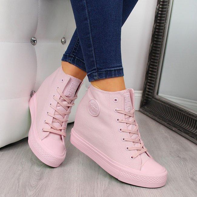Trampki na koturnie sneakersy różowe Big Star FF274A196