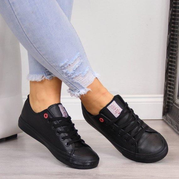 Trampki niskie eko skóra czarne Cross Jeans
