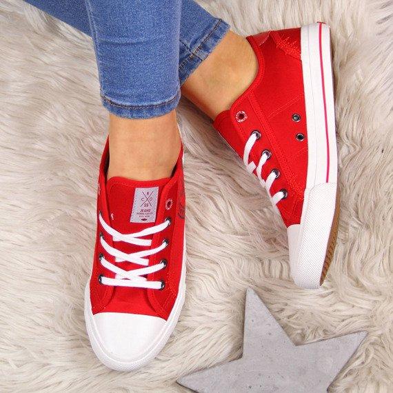 Trampki niskie tekstylne czerwone Cross Jeans