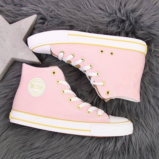 Trampki wysokie damskie różowe Big Star HH274447
