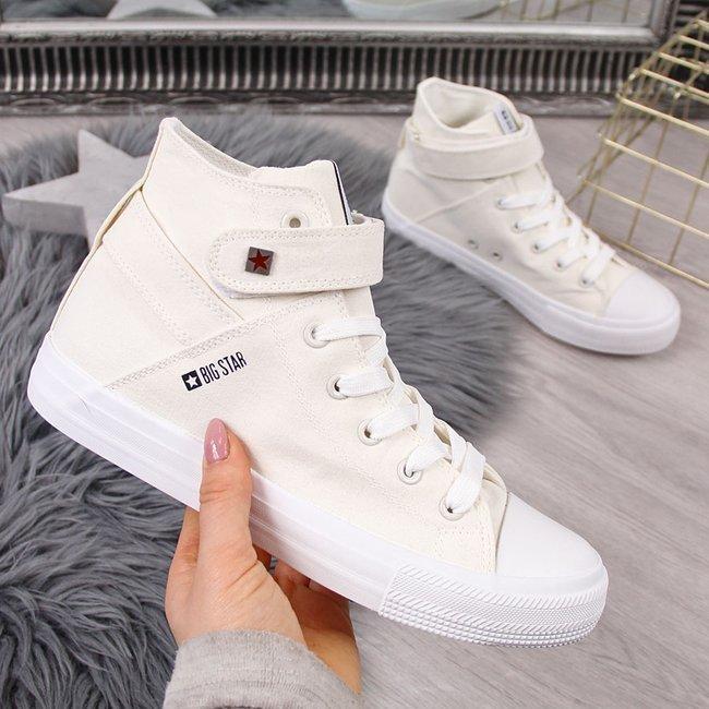 Trampki wysokie tekstylne na rzep białe Big Star FF274579